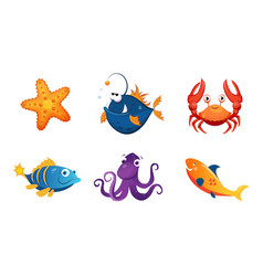 cute friendly sea creatures set colorful adorable vector image