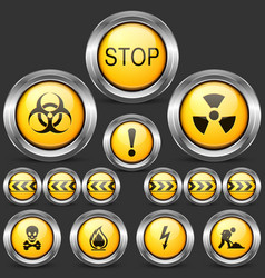 danger and caution street sign set of round metal vector image