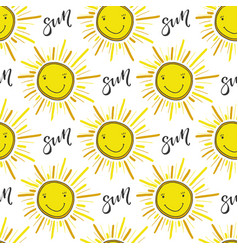 doodle hand drawn seamless pattern with sun funny vector image