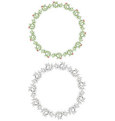 Drawing decorative floral round frames vector