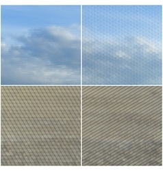 Dry land and blue sky with clouds Collection of vector image