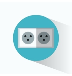 electric power plug blue circle shadow vector image