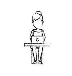 figure profesional businesswoman with laptop and vector image