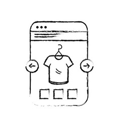 figure smartphone website shopping the clothes vector image vector image
