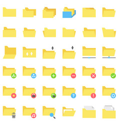 File and folder icon set flat style vector