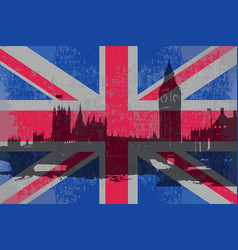 Flag of england and the parliament building vector