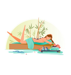 flat young beauty woman character in spa with vector image