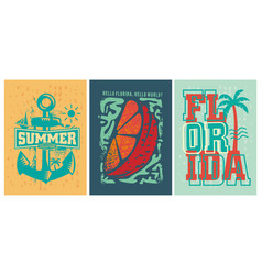 Florida beach summer apparel designs set vector