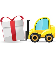 Forklift Car Gift Box Isolate vector