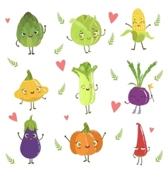 Funny Girly Design Vegetables Collection vector