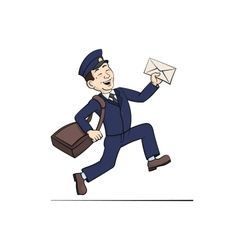 Funny Postman with Letter vector