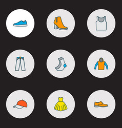 garment icons colored line set with hat heels vector image