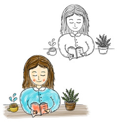 girl reading book watercolor artwork vector image