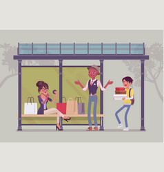 Girl with bags at bus stop vector