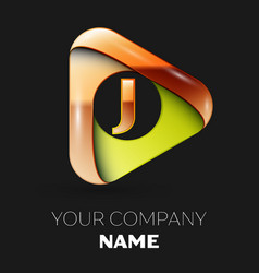 golden letter j logo in golden-green triangle vector image