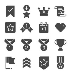 gray votes and rewards icons set vector image