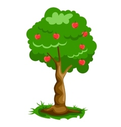 Green apple tree full of red apples vector