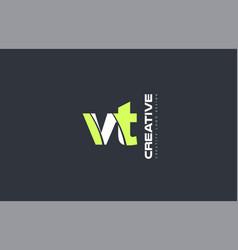 green letter vt v t combination logo icon company vector image