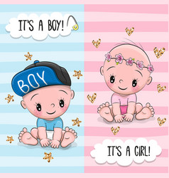 Greeting card with cute babies boy and girl vector