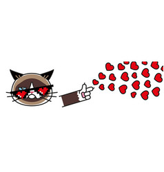 Grumpy cat in pixel glasses with hearts vector