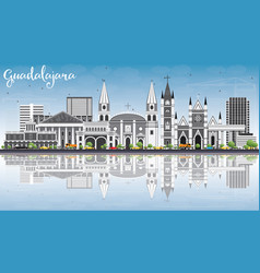 guadalajara skyline with gray buildings blue sky vector image