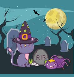 halloween cute cat cartoon vector image