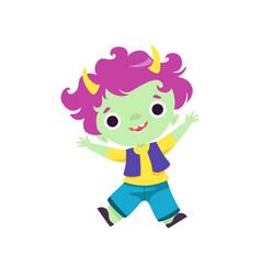 Happy horned troll boy cute smiling fantasy vector