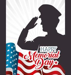 Happy memorial day soldier silhouette vector