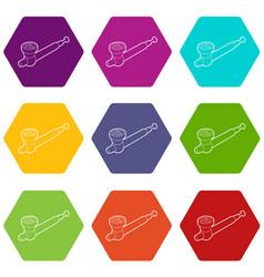 Hashish pipe icons set 9 vector
