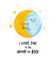 Hugging moon and earth planet sweet vector