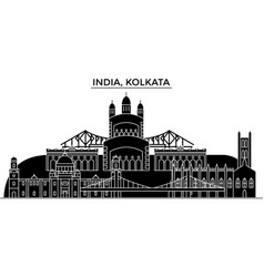 India kolkata architecture urban skyline with vector