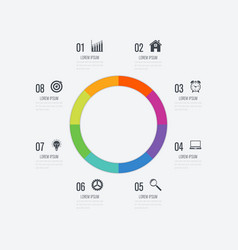 Infographics template 8 options with circle vector