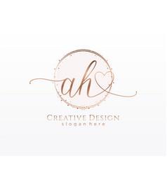 Initial ah handwriting logo with circle template vector
