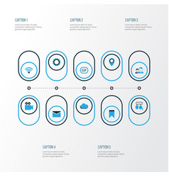 Internet colorful icons set collection of vector