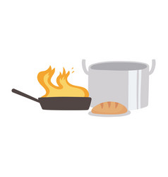 kitchen pot bread and saucepan with flame isolated vector image