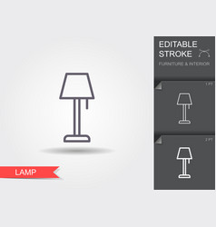 lamp line icon with editable stroke with shadow vector image