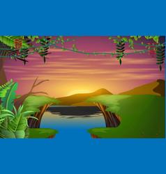 landscape sunrise on mountain vector image