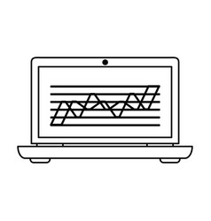 laptop computer with graph chart on screen icon vector image