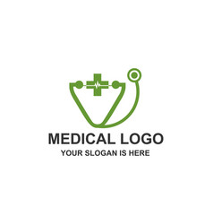medical stethoscope heart pulse logo vector image