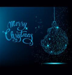 merry christmas greeting card blue christmas tree vector image