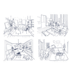 Modern living room interior set furnished drawing vector