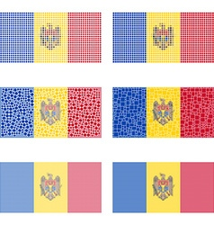 Mosaic Moldova flag set vector