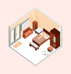 Natural brown isometric home interior design vector