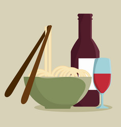 Noodles and wine design vector