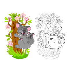Page for coloring book mother koala with her vector
