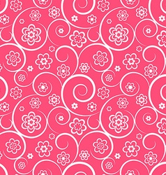 Pink seamless pattern with flowers and swirls vector image