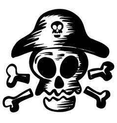 Pirate symbol with skull wearing hat vector