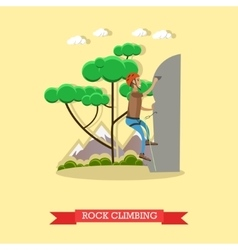 Rock climbing man in flat vector image