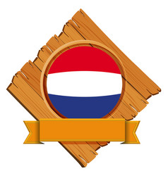 Round icon for netherlands with banner vector