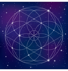 Sacred geometry symbol on space background vector image
